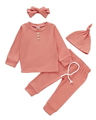Conjunto de ropa para recién nacidos para bebé y niña + pantalones largos + diadema de conejito + sombrero de colores sólidos - naranja - 0-6 meses