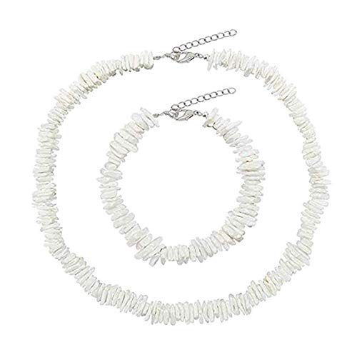 MIMORE Shell Choker Necklace Seashell Necklace Statement Adjustable Natural Puka Shell Necklace Clam Chips Shells for Women