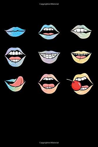 Notizbuch: Komische Münder Sexy Zunge Kirsche Erotische Lippen Notizbuch DIN A5 120 Seiten für Notizen, Zeichnungen, Formeln | Organizer Schreibheft Planer Tagebuch