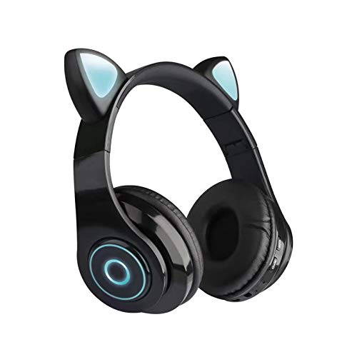 Over-Ear Headphones Bluetooth 5.0, Foldable Stereo Headset with Cat Ear LED Light, CVC 6.0 Noise Cancelling Headphones, Micro SD/TF, Built-in Mic, Wired/Wireless Headset for Home Office (Black)
