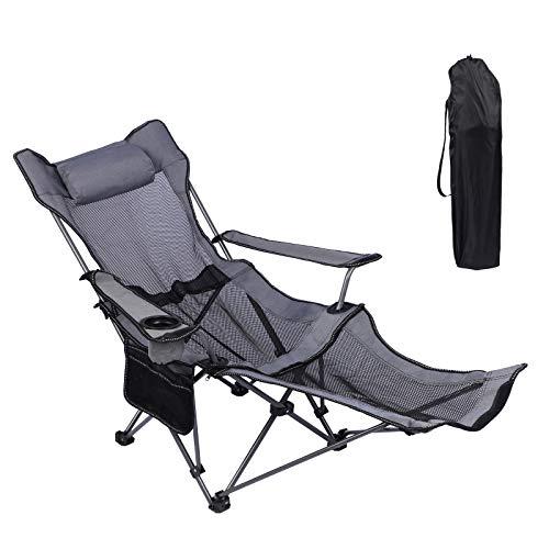 KEFOMOL Camping Lounge Chair, Portable Reclining Camping Chair, Folding Camping Chair with...