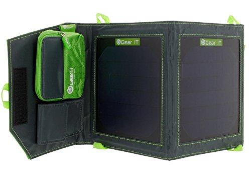 GearIT Caricatore Solare Pannello Solare Caricatore Solare Portatile, piegabile con Porte USB per iPhone, Android, GPS e Tutti i dispositivi compatibili USB