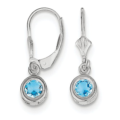 925 Sterling Silver 5mm Round Blue Topaz Leverback Earrings (26mm x 6mm)
