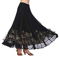 ダンスドレス ロング スウィングスカート ひらり 刺繍 パンコール コスチューム 舞台衣装 ブラック
