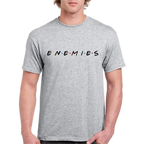 Enemies no Friends - Camiseta Hombre Manga Corta (Gris Jaspeado, XXL)