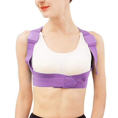 Corrector de postura para niños, soporte lumbar trasero ajustable, chaleco corrector para corregir el jorobado (púrpura)(L)