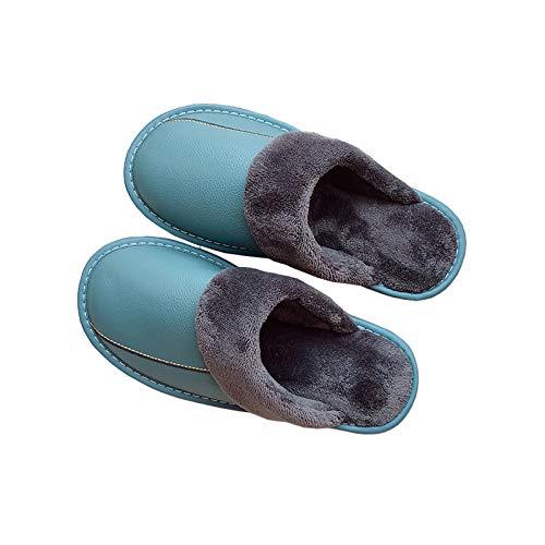 XVXFZEG Hogar cómodo algodón zapatillas, zapatos de vellosidades-forrado interior, exterior antideslizante TPR sólido espesado soles, caliente de cuero de vaca de pelo en otoño e invierno, y unisex de
