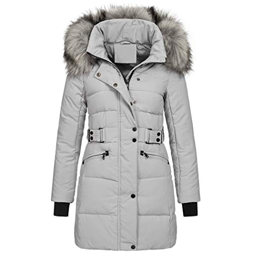 Elara Damen Steppjacke Winterjacke Kunstfellkragen Grau Chunkyrayan MP19904 Grey-42 (XL)