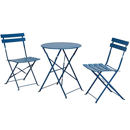 Grand patio Balcony Set, Bistro Set 3 Pieces, 2 Chairs and 1 Table, Premium Steel, Easy to Fold, Folding Table Chairs for Balcony,Yard, Garden (Brittany Blue
