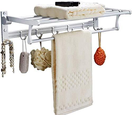 Handdoek Rack Hand ring Badkamer Rack, Space Aluminum 90deg;Folding met verwisselbare Hook, Wall-gemonteerde badkamer plank 60X22X14cm Droogrek XIUYU