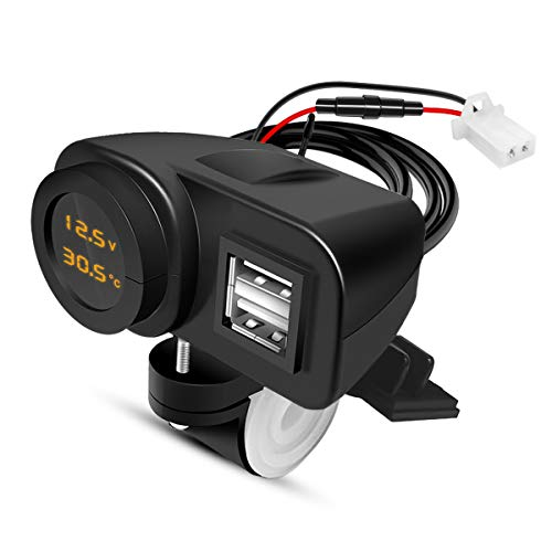 Palumma バイク用USB電源 電源ソケット 2*USBポート 4.2A 安全 チャージャー 電圧計 温度計 防水カバー オートバイ充電器