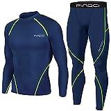 BGUK Conjunto deportivo de compresión para hombre + pantalones ajustados de manga larga de secado rápido, azul, S