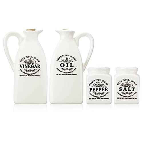 4 Pcs Tarro de especias de cerámica de con corcho de madera, dispensador de botella de aceite y vinagre Olla de condimento Aceite de vinagre de pimienta Botella de sal Herramienta de especias