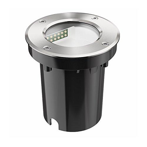 ledscom.de LED Boden-Einbauleuchte für außen, seitwärtige Leuchtrichtung, warm-weiß, IP65, 230V, 100mm Ø