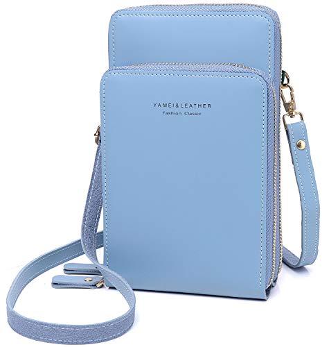 Bolso de Hombro para teléfono móvil para Mujer, pequeño Monedero de Piel sintética para Mujer, con Ranuras para Tarjetas, Cremallera y Correa (Azul)