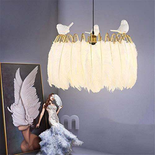 JUAN Prachtige lampen/Americana Nordic Post-Moderne veren eetkamer woonkamer hoogwaardige slaapkamer in Simple White Amerikaanse hanglamp zonder vogels, 12 W wit licht 60