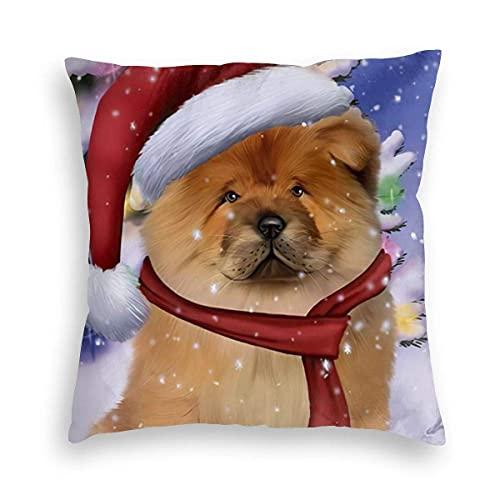 Lewiuzr Chow Dog Cute Christmas Winter Snow Square Throw Pillow Fundas Decoraciones Funda de cojín 16X16 Pulgada