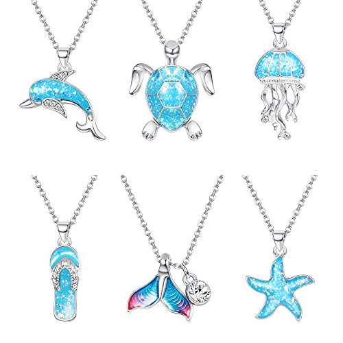 Udalyn 6 Pcs Ocean Pendant Necklace Chain Sea Blue Sea Turtle Dolphin Jellyfish Mermaid Fishtail Starfish Flip Flop Clavicle Chain Necklace for Women