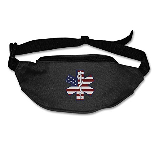 TAOHJS76 Men's and Women's Waist Bag Fit All Phone Models and Fit All Waist Sizes American Flag EMS EMT Best for Running, Workouts, Cycling, Travelling