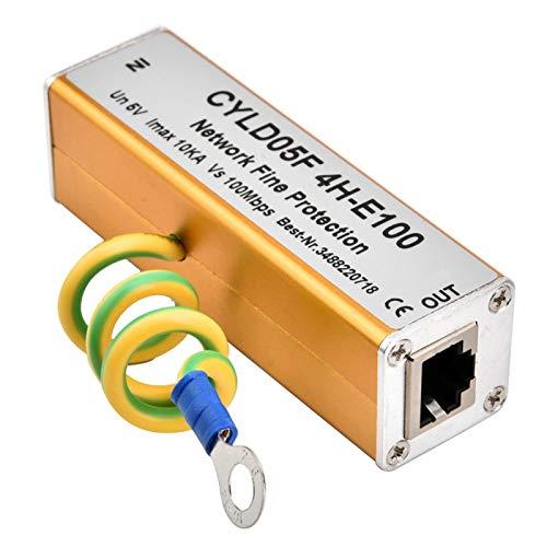 RJ45 RJ11 Ethernet Surge Protector, protezione completa - Montaggio RJ45 Lightning Suppressor, Ethernet Network Surge Protector 5V, per la protezione da sovratensione dei segnali nei sistemi di monito