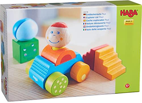 HABA 304738 - Entdeckerauto Paul, buntes Auto mit Bausteinen aus Holz und Kugel mit Rassel-Effekt, Spielzeug ab 12 Monaten