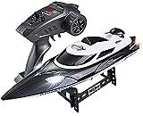 WANIYA1 RC Boat 2.4G Barco de Velocidad de Control Remoto eléctrico inalámbrico para Piscina y Lago Barcos RC de Alta Velocidad con Faros LED para niños Boys RC Toy Regalo (Color : Black)
