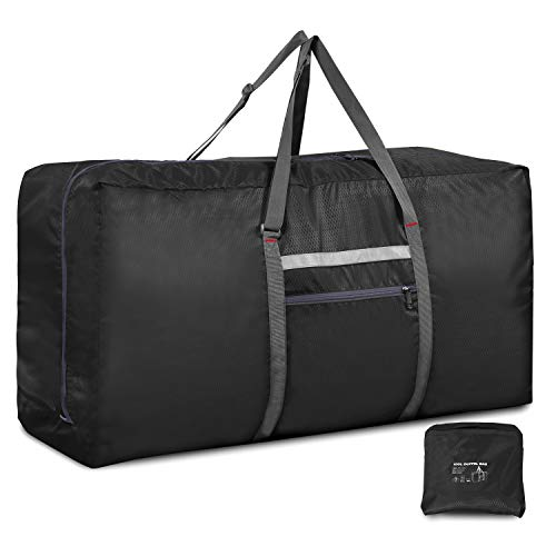 RedSwing Foldable Extra Large Duffle Bag 100L/31 Inch, Lightweight Travel Duffel Bag with Adjustable Strap for Men Women, Black