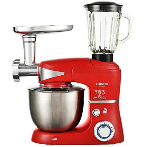 DMS 3 in 1 Küchenmaschine | Knetmaschine und Rührmaschine in einer 5 L Edelstahlschüssel mit Deckel | Fleischwolf | Mixer/Icecrusher | 6 Geschwindigkeitsstufen | Spritzschutz | Leistung 1700W | Rot