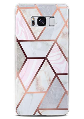 ONEFLOW Sense Case kompatibel mit Samsung Galaxy S8 Hülle in Marmor Optik, Schutz für Kamera und Bildschirm, Handyhülle aus Silikon - glänzend Gold (Thrill)