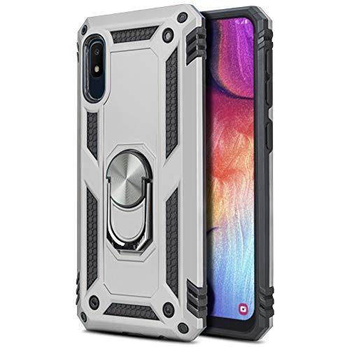 CasemartUSA Phone Case for [Samsung Galaxy A10E], [Loop Series][Silver] Full Rotating Metal Ring Cover with Kickstand for Samsung Galaxy A10E (Tracfone, Simple Mobile, Straight Talk, Total Wireless)