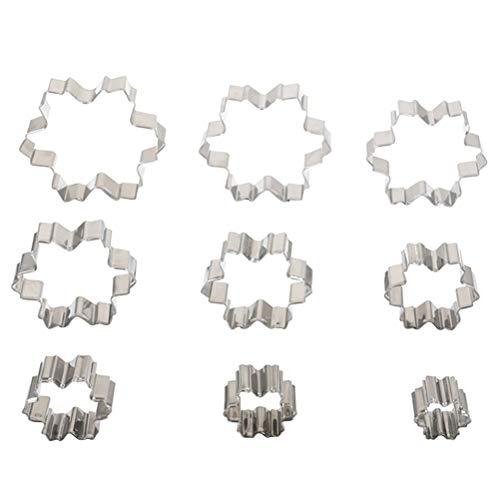 YXZQ 9 Ausstechformen in Form einer Schneeflocke, Mini-Backform, Edelstahl, für die Weihnachtsparty