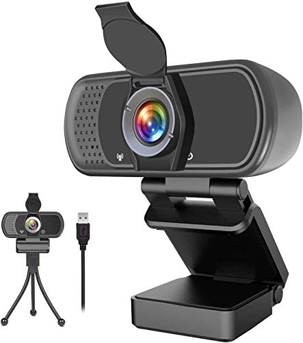 1080p Webcam with Microphone,Wide Angle Web Camera with Privacy Cover,USB External Camera for Computer Monitor Laptop Desktop PC Mac,HD Webcam for Live Streaming