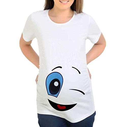 Huixin T Shirts De Maternité De Maternité T pour Vêtements Shirts Dames Élastique T Shirt Haut Haut Enceinte Manches Courtes Coton Grossesse Haut T Shirt (Color : Smile, Size : M)