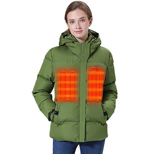 Venustas [2019 Nuevo] Chamarra térmica para Mujer con Paquete de batería, Abrigo térmico Grueso con Capucha Ajustable hasta 12 Horas de calefacción - Verde - Medium