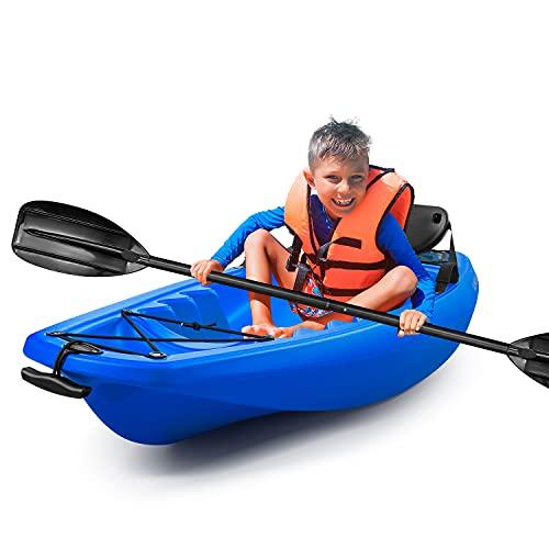 Kids Kayak withPaddle & Seat Youth Kayak Foldable Capacity 121 lbs Blue