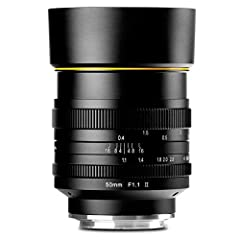50mm F/1.1 II Micro Single Lens Head - Lens Hood (Plastic) - KamLan 1 Year Limited Warranty Focal Length: 50mm Aperture: F1.1 - F16 Range of View: 32 Degree @APS-C Nearest Focus Distance: 0.4m