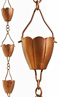 Patina Products Copper Flower Cup Rain Chain -Half Length