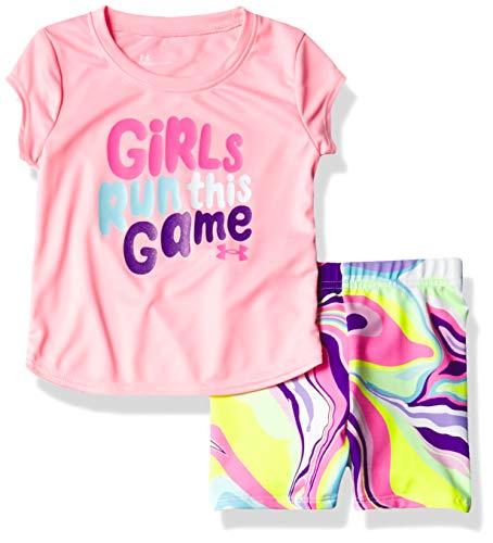 Under Armour Girls' UA Big Logo SS Set, POP Pink S211, 3T