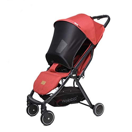 JINGQI Viajes Cochecito de aleación de Aluminio del Cochecito de bebé portátil Sentado y acostado Carro de bebé del Plegable Ajustable del Cochecito de bebé del Cochecito de niño High View,Rojo