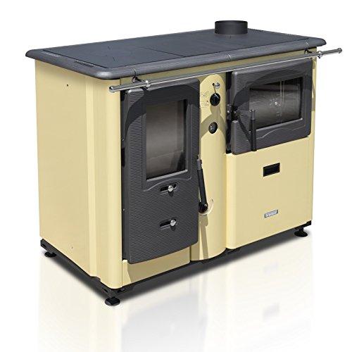 XXL-Wasserführender Küchenofen TEMY PLUS P 20, creme - dauerbrandfähig mit Sommer-/Winterfunktion - 20kW
