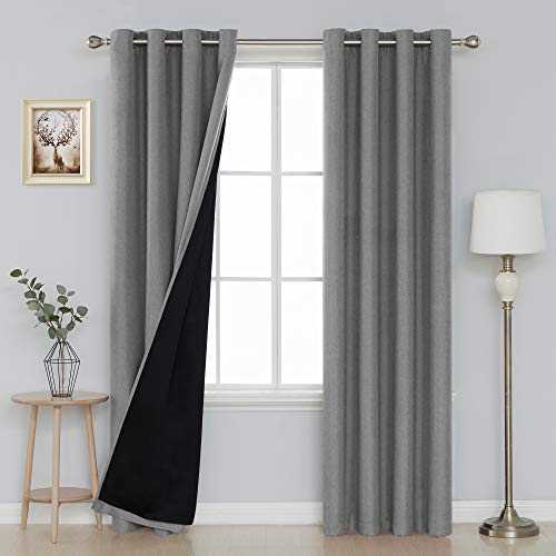 Deconovo Grommet Double Layer Curtains Noise Reduction Curtains Heat Blocking Curtains for Bedroom 52x90 Inch Grey Set of 2 Panels