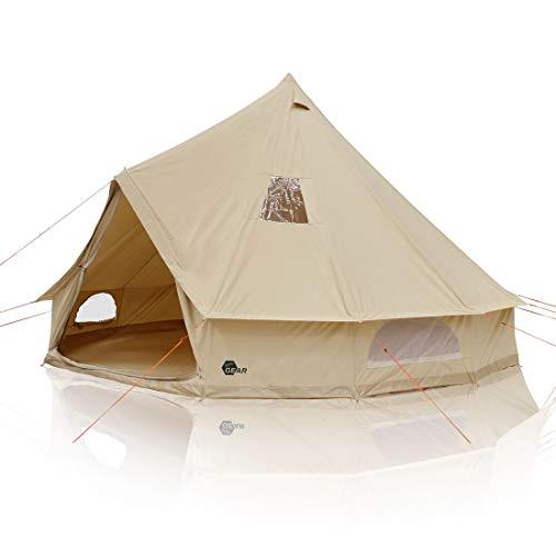 your GEAR Tienda de campaña Desert Tipi para 10 Personas con Espacio para la Cabeza Tienda Familiar de algodón con sábanas Cosidas y protección UV50+