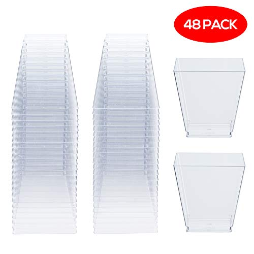 48 Pack Disposable Square Clear Plastic Dessert Cups, 225ml - Durable & Reusable, Dishwasher Safe| Plastic Dessert Pots Bowls for Drinks Parties Buffets Desserts Jelly Trifles Mousse Pudding.