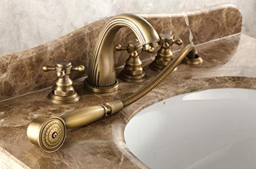 Latón Classtic mezclador de la bañera del grifo de la ducha con la cubierta portátil montado en 5 agujeros caliente y fría grifos, 01