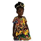 Fanteecy Girls Dashiki African Short Baby Doll Dress Above Knee Length,Ankara Baby Dress,Toddler African Boho Outfits