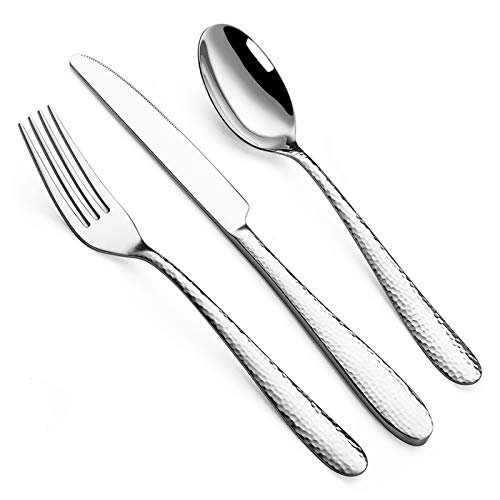 Hammered Silverware Sets, 12-Piece Stainless Steel Flatware Cutlery Sets, Hammered Mirror Finish Utensil Include Knife Fork Spoon, Service for 4-Dishwasher Safe