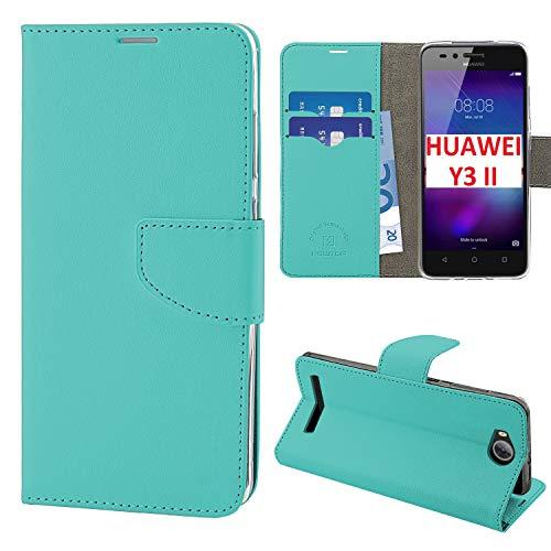 N NEWTOP Cover Compatibile per Huawei Y3 II, HQ Lateral Custodia Libro Flip Chiusura Magnetica Portafoglio Simil Pelle Stand (Turchese)