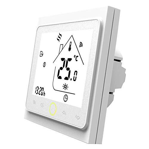 MOES Smart Thermostat WiFi Temperaturregler Smart Life/Tuya APP Fernbedienung für elektrische Heizung 5 + 1 + 1 Programmierbar , Kompatibel mit Alexa Google Home 16A (Weiß)