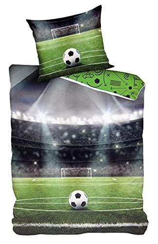 VonBueren Bettwäsche Fussball | 135x200 cm | 100% Baumwolle | Reißverschluss | Fußball Betwäsche