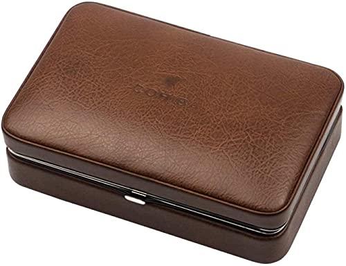 NHLBD XIAOQIANG Caja de Cigarrillos 4 Sitcks Travel Travel Portable Humidor SetCEDAR Wood Forrado de Cuero Caja de cigarro Caja Decorativa